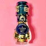 風味抜群で料理を格上げ!【ドロゲリア】オーガニック4種類のペッパーコーンミル付き(非GMO)